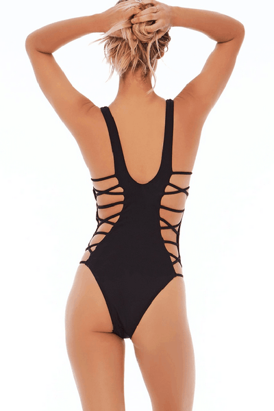 Chicloth Black Strappy Sides One Piece Monokini