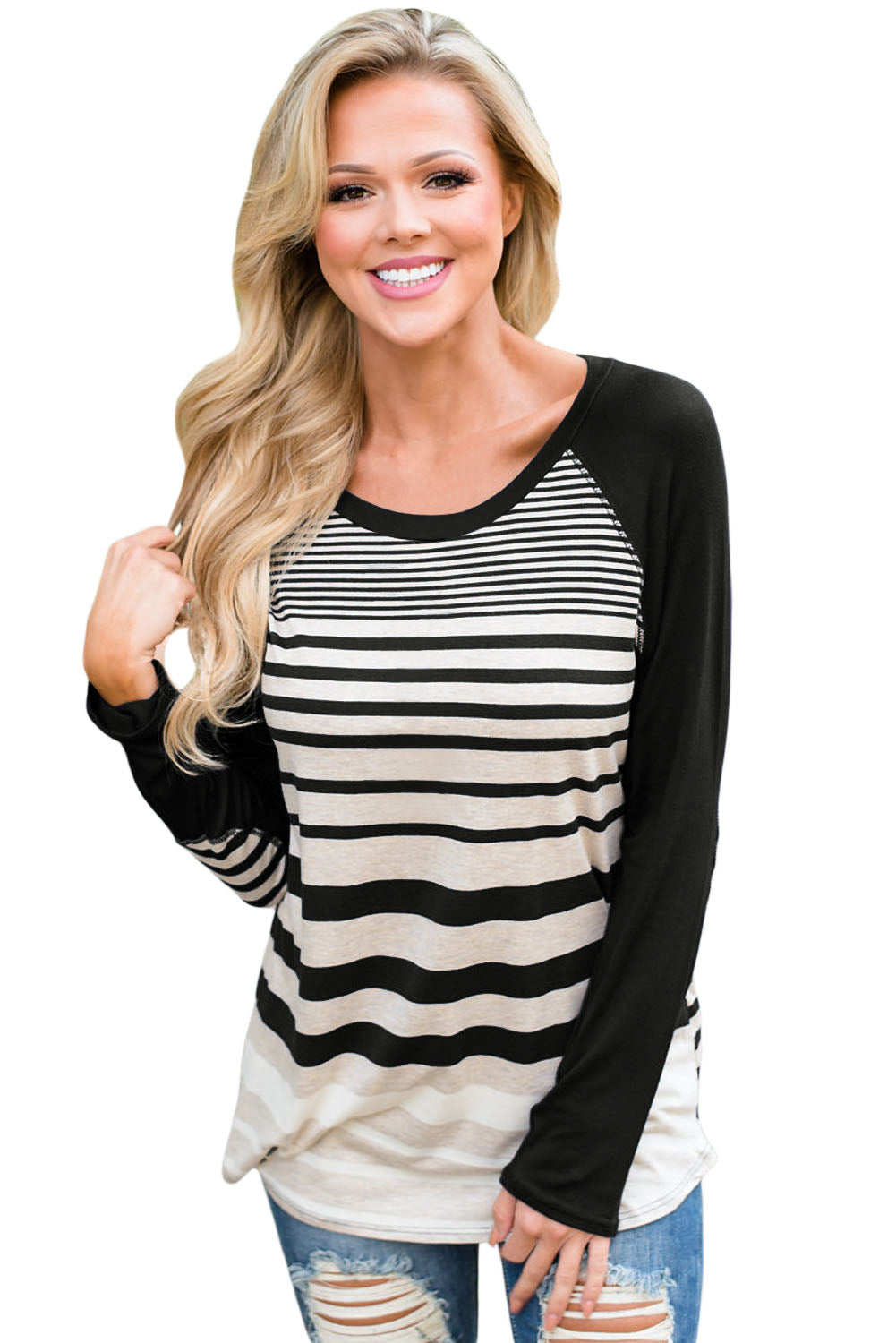 Chicloth Black Striped Patch Elbow Raglan Blouse