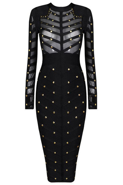 Chicloth Black Studded Mesh Bandage Dress