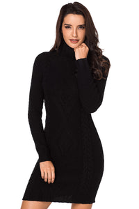 Z| Chicloth Black Stylish Pattern Knit Turtleneck Sweater Dress