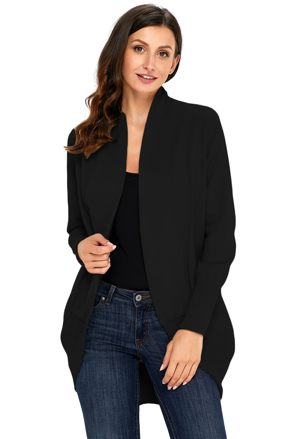 A| Chicloth Black Super Soft Long Sleeve Open Cardigan-Sweaters-Chicloth