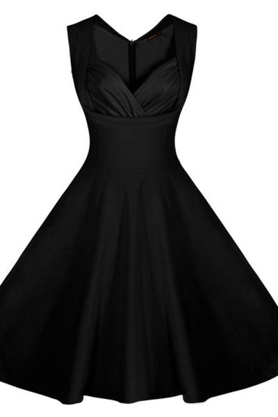 Chicloth Black Sweetheart Neck Retro Collared Skater Dress