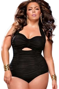 Chicloth Black Sweetheart Neck Ruched Plus Size One-piece Swimwear