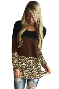 Chicloth Black Taupe Block Leopard Splice Long Sleeve Top