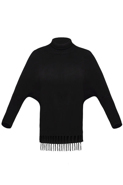 Chicloth Black Turtleneck Fringe Hemline Tunic Sweater