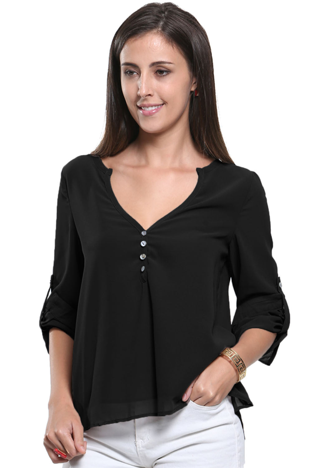Chicloth Black V-Neck Button Detail Dip Back Blouse Top