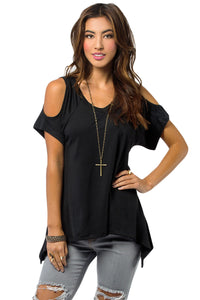 Chicloth Black V Neck Cold Shoulder Swing Top