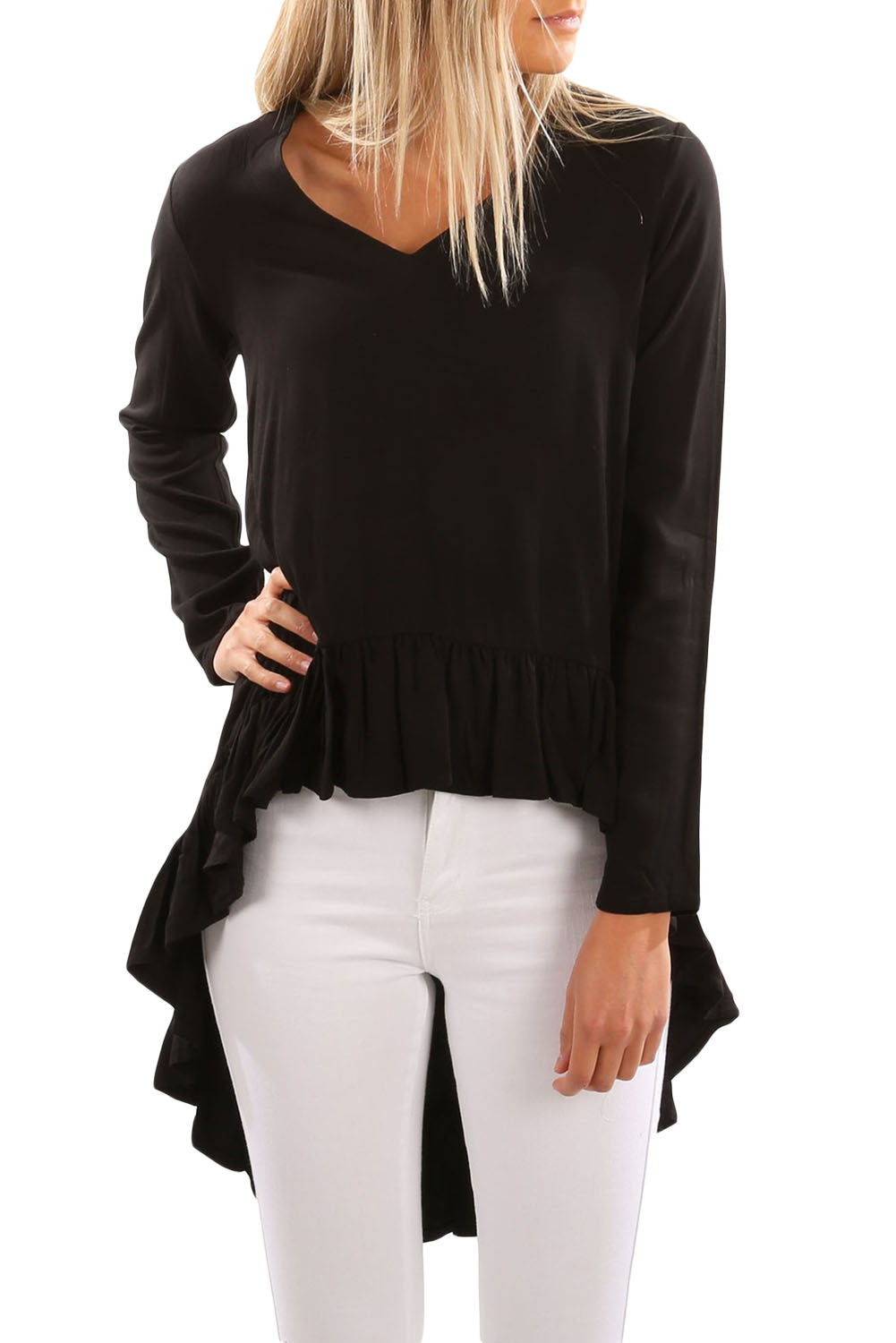 Chicloth Black V Neck Longer Frilled Hemline Back Top-Women's Clothes||Blouses & Tops-Chicloth
