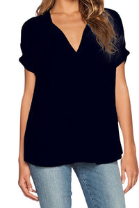 Chicloth Black V Neck Short Sleeve Oversize Chiffon Blouse