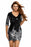 Chicloth Black Victorian Silver Sequins 3/4 Sleeves Bodycon Dress-Chicloth