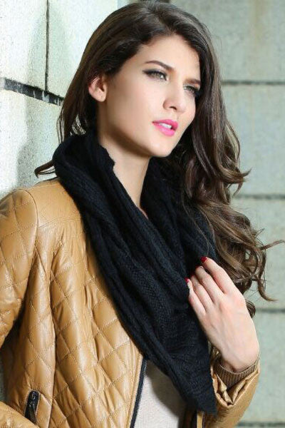 Black Warm Knitted Scarf-sale-Chicloth