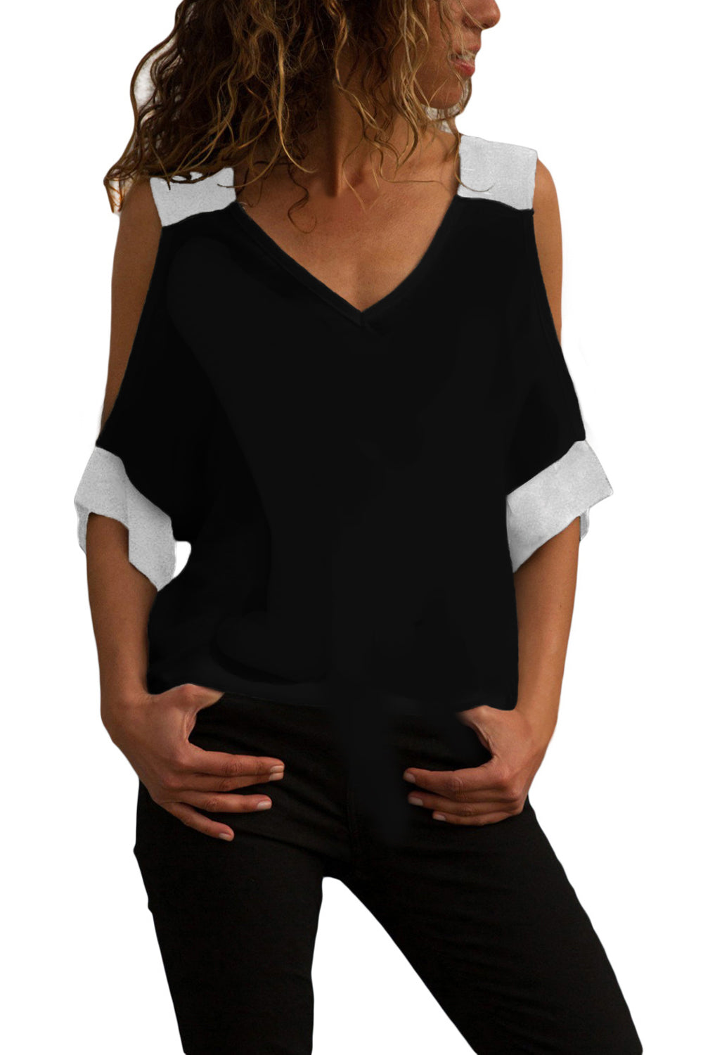 Z| Chicloth Black White Color Block Cold Shoulder Top