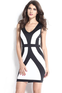 Chicloth Black White Curvy Lines Thick Straps Bodycon Dress - Chicloth