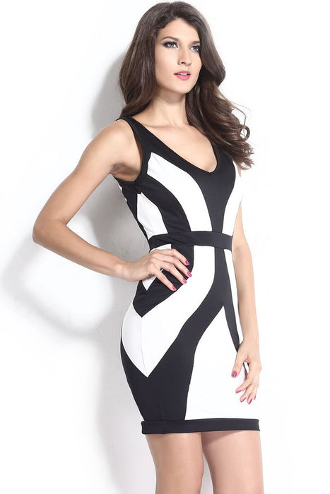 Chicloth Black White Curvy Lines Thick Straps Bodycon Dress-Chicloth