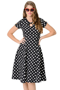 Chicloth Black & White Dotted Cap Sleeve Swing Dress