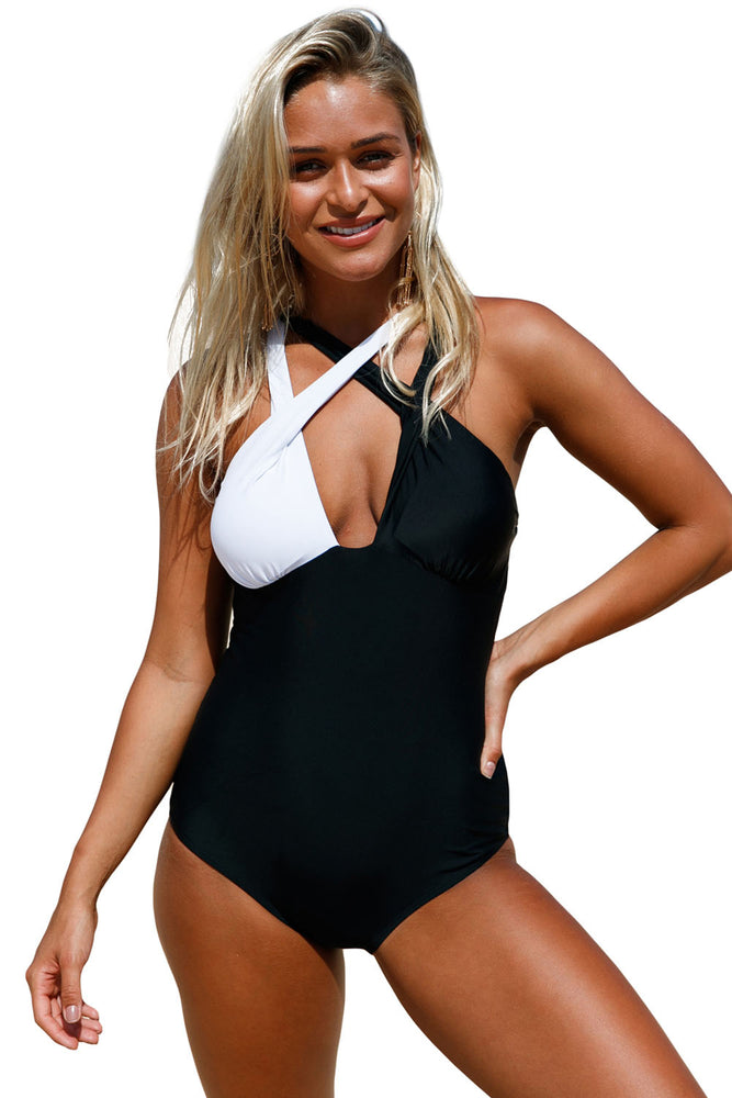 Chicloth Black White Double Cross Strap One Piece Swimsuit-Sexy Swimwear||One-Piece Swimwear-Chicloth