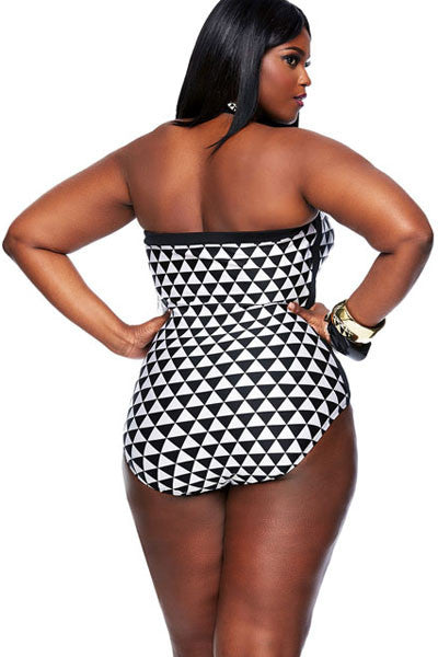Chicloth Black White Graphic Print Bandeau 1 PC Plus Size Swimwear-Plus size swimwear-Chicloth