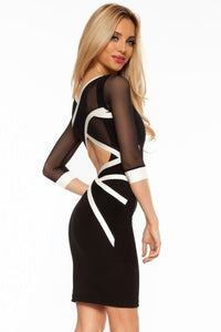 Chicloth Black White Mesh Cross Strap Bodycon Dress