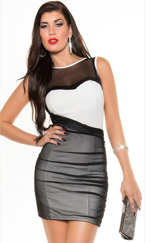 Chicloth Black White Mesh Sequined Bodycon Dress