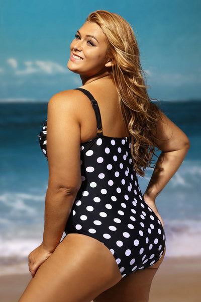 A| Chicloth Black White Polka Dot Plus Size One-Piece Swimsuit