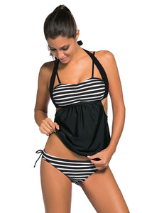 Chicloth Black White Stripes Black Splice Tankini Swimsuit