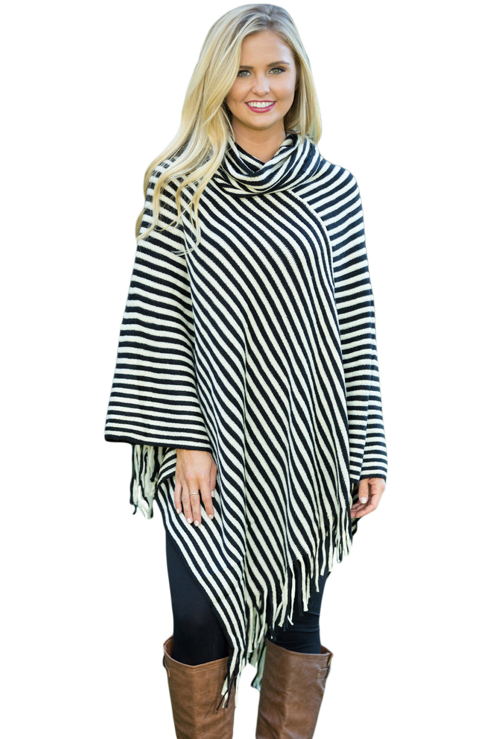 Chicloth Black White Stripes Cowl Neck Poncho Sweater