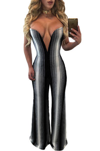 Chicloth Black White Stripes Plunging V Neck Jumpsuit-Jumpsuits & Rompers-Chicloth