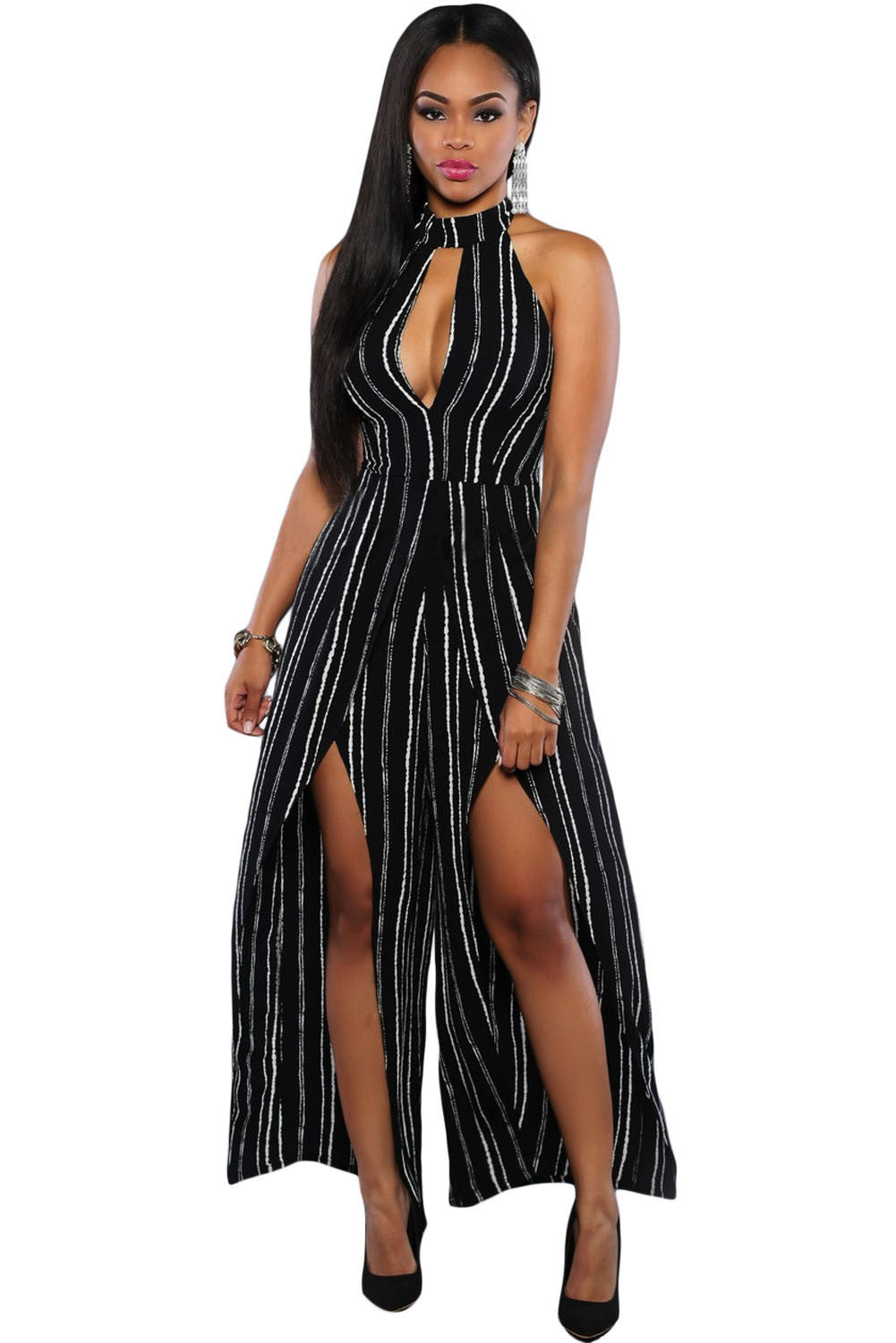 Chicloth Black White Stripes Slit Legs Jumpsuit
