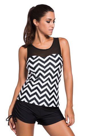 A| Chicloth Black White Zigzag Print Mesh Splice 2Pcs Tankini Swimsuit-Tankinis-Chicloth