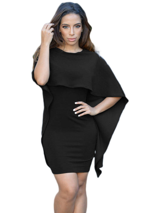 Black Winging Angle Cape Style Backless Mini Dress-sale-Chicloth