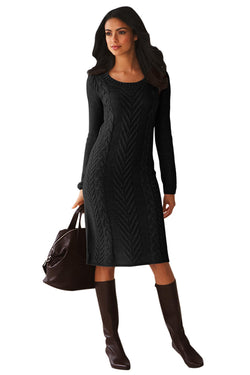 Chicloth Black Women¡¯s Hand Knitted Sweater Dress