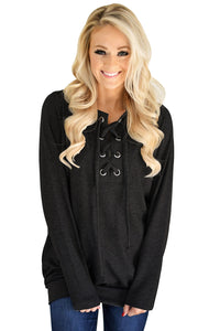 Chicloth Black Women?¡¥s Lace up Sweatshirt Jumper