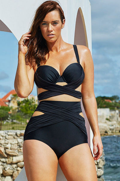 Chicloth Black Wrap Underwire High Waist Plus Size Bikini