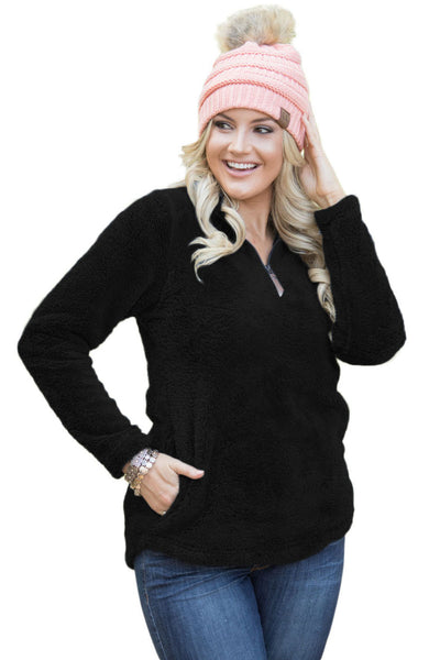 Chicloth Black Zipped Pullover Fleece Outfit