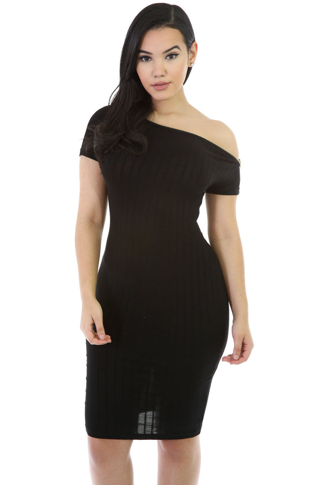 Chicloth Black Zipper Neckline Bodycon Midi Dress-Chicloth