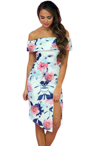 Chicloth Bloom Off The Shoulder Floral Dress with Slit-Boho Dresses-Chicloth