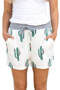 Chicloth Blooming Cactus Print White Casual Shorts-Women's Clothes||Pants & Culotte-Chicloth