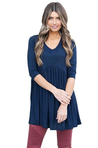 Chicloth Blue 3/4 Sleeve Babydoll Tops