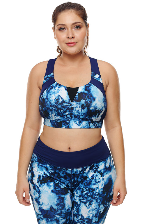 Z| Chicloth Blue Abstract Painting U-shaped Neck Plus Size Sport Bra-Chicloth