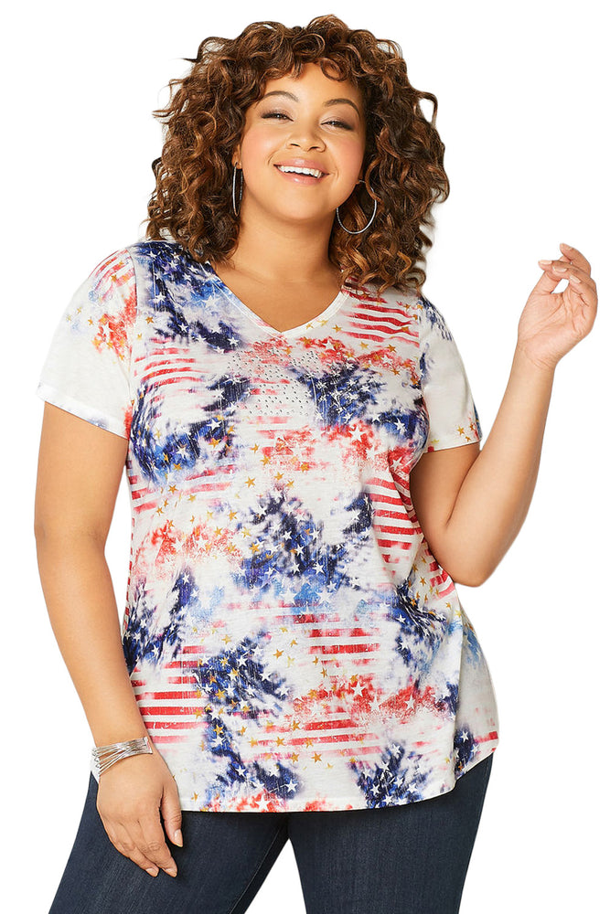 Z|Chicloth Blue American Dream Tie Dye Plus Size Tee-Chicloth