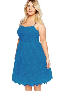 Chicloth Blue Big Girl Sweet Lace Skater Dress