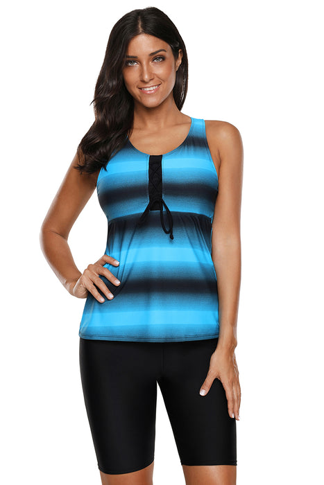 A| Chicloth Blue Black Ombre Print Racerback Tankini Swimsuit-Tankinis-Chicloth