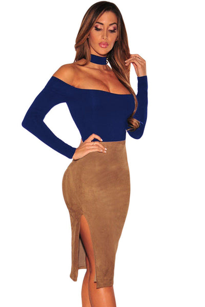 Chicloth Blue Choker Off Shoulder Bodysuit