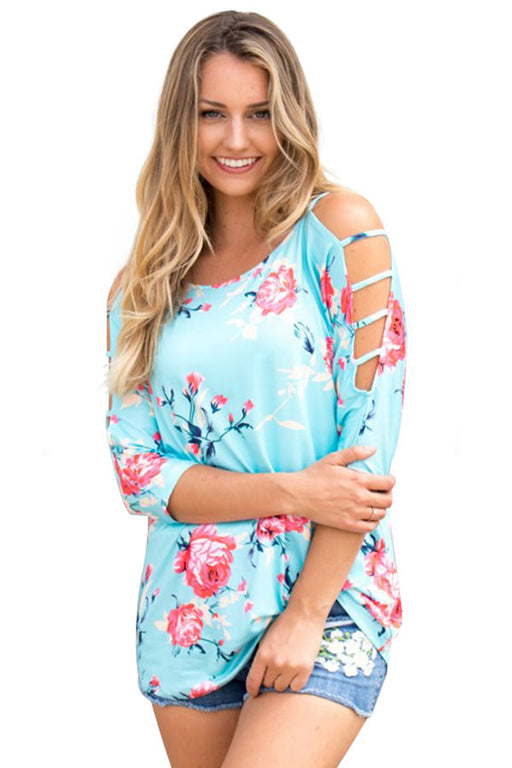 Chicloth Blue Cold Shoulder Floral Blouse-Women's Clothes||Blouses & Tops-Chicloth