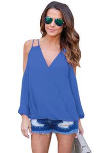 Chicloth Blue Cold Shoulder V Neck Wrap Front Breezy Blouse