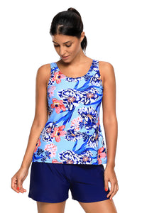 Chicloth Blue Coral Floral Print Tankini and Short Swimsuit