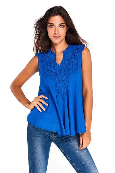 Chicloth Blue Embroidered Applique V Neck Blouse Top