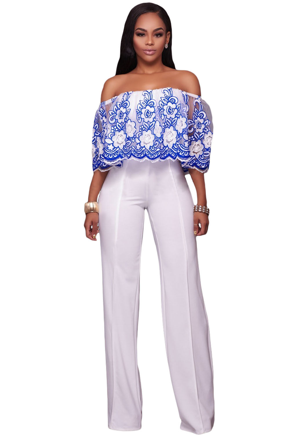 Chicloth Blue Embroidery Ruffle Overlay Strapless Jumpsuit