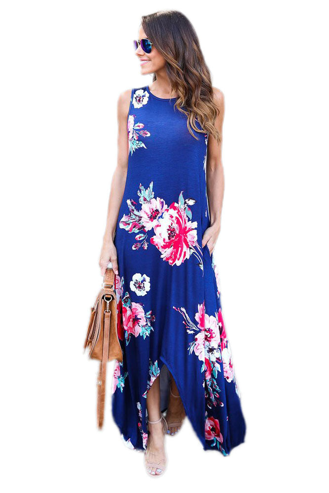 Chicloth Blue Floral Pocketed Holiday Maxi Boho Dress
