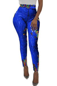 Z| Chicloth Blue High Waist Retro Sequin Leggings-Leggings-Chicloth
